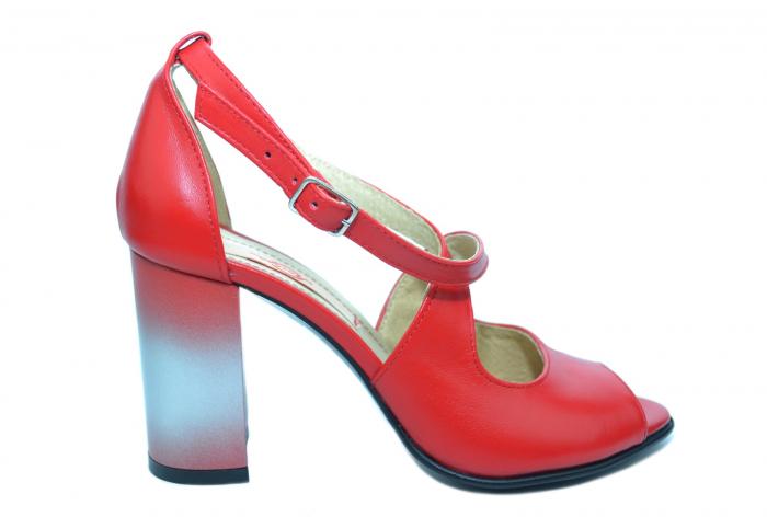 Pantofi Piele Naturala Rosii Francisa 0