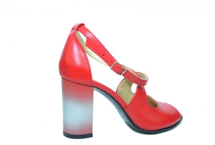 Pantofi Piele Naturala Rosii Francisa 3