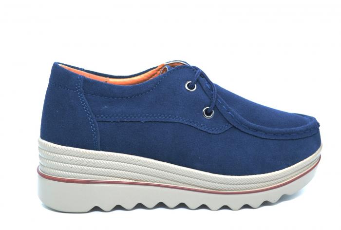 Pantofi Casual Piele Naturala Intoarsa Bleumarin Caterina D02258 0