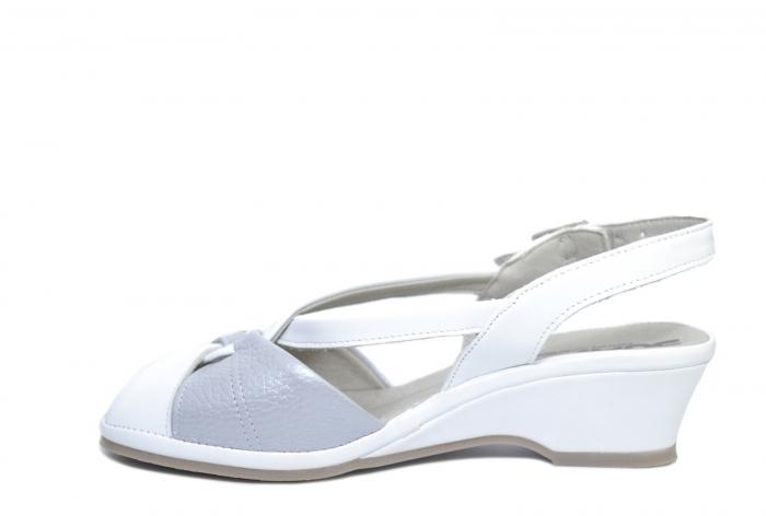 Sandale Piele Naturala Albe Silvia 1