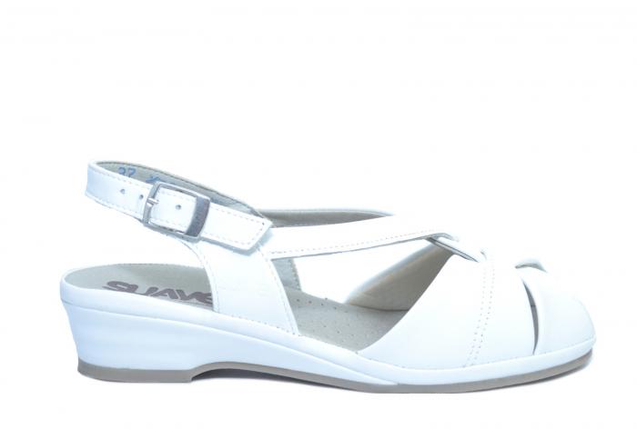 Sandale Piele Naturala Albe Elinda 0