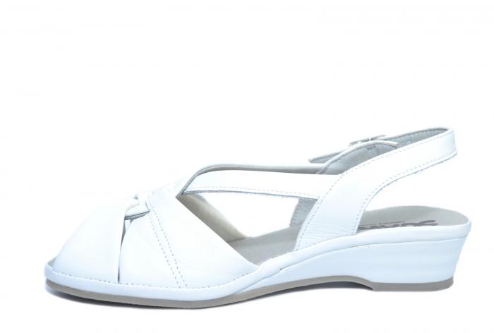 Sandale Piele Naturala Albe Elinda 1