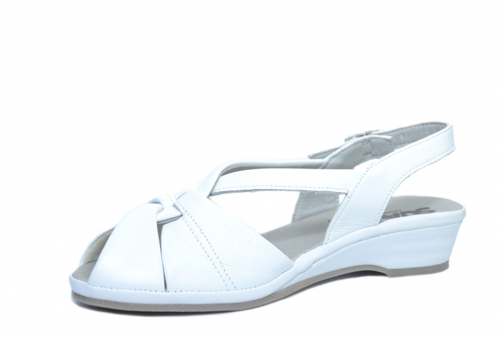 Sandale Piele Naturala Albe Elinda 2
