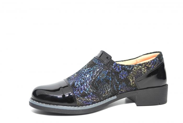 Pantofi Casual Piele Naturala Neagra Lucille D02224 2