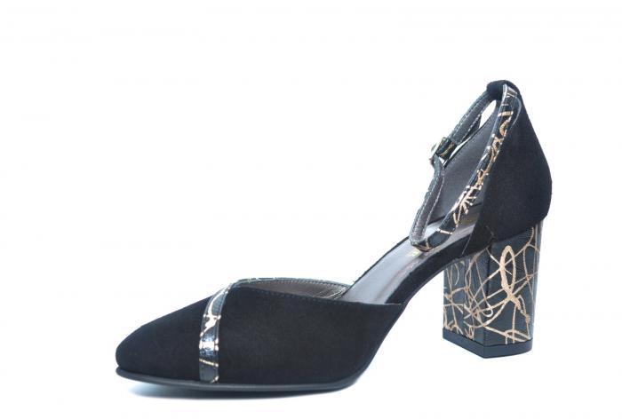 Pantofi Dama Piele Naturala Negri Barbara D02227 2