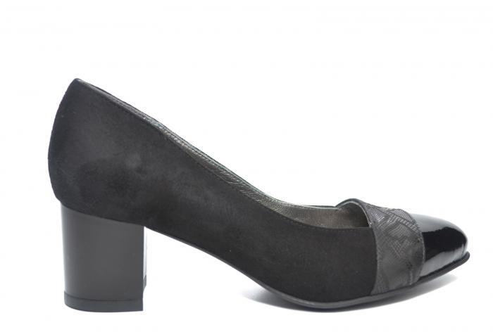 Pantofi cu toc Piele Naturala Negri Monika D02228 [0]