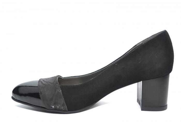 Pantofi cu toc Piele Naturala Negri Monika D02228 [1]
