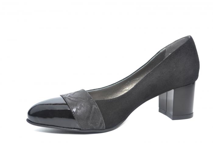 Pantofi cu toc Piele Naturala Negri Monika D02228 [2]