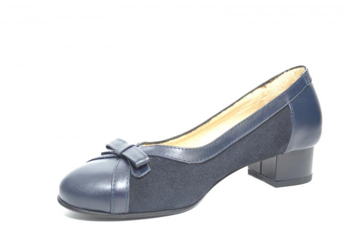 Pantofi cu toc Piele Naturala Bleumarin Marcella D02217 2