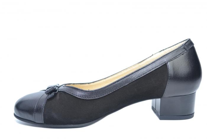 Pantofi cu toc Piele Naturala Negri Marcella D02218 1