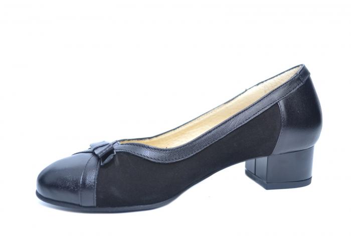 Pantofi cu toc Piele Naturala Negri Marcella D02218 2