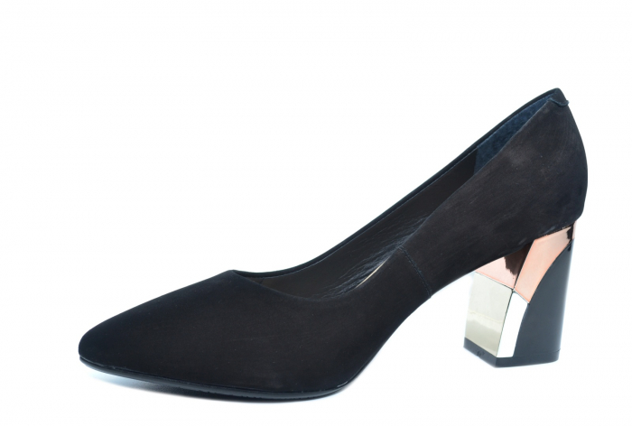 Pantofi cu toc Piele Naturala Negri Epica Lucille D02235 2