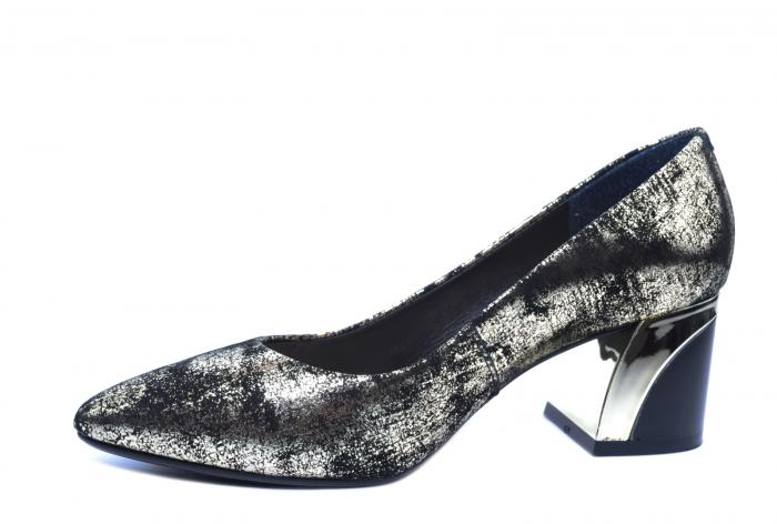 Pantofi cu toc Piele Naturala Negri Epica Alva D02238 2