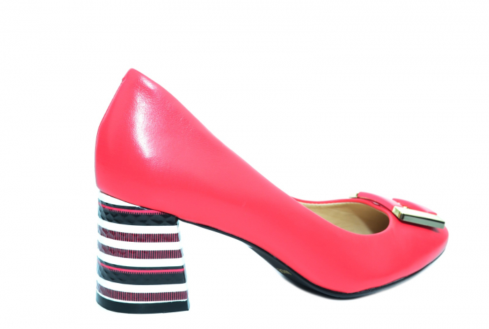 Pantofi cu toc Piele Naturala Roz Epica Liana D02237 3