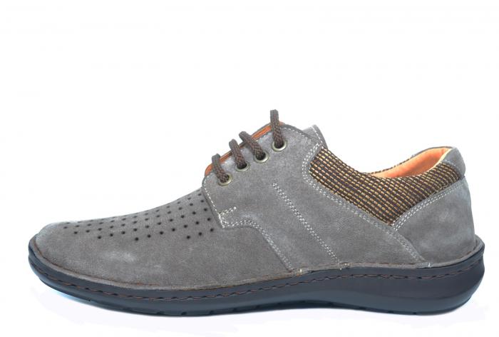 Pantofi Casual Barbati Piele Naturala Gri Haralambie B00040 1