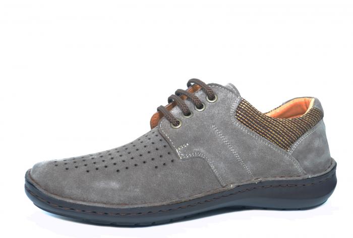 Pantofi Casual Barbati Piele Naturala Gri Haralambie B00040 2