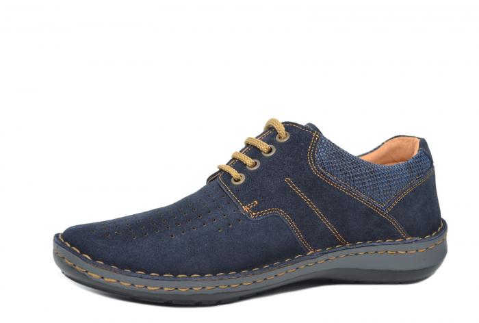 Pantofi Casual Barbati Piele Naturala Bleumarin Otter Eddy B00041 2