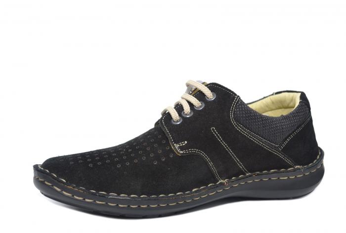 Pantofi Casual Barbati Piele Naturala Negri Otter Elton B00042 2