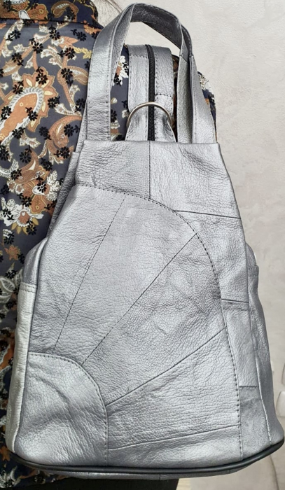 Rucsac Dama Piele Naturala Argintiu Clarisa G00358 0