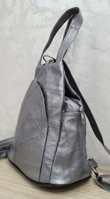 Rucsac Dama Piele Naturala Argintiu Clarisa G00358 4