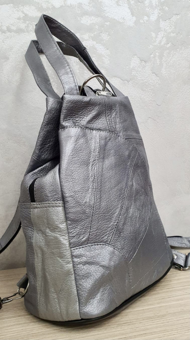 Rucsac Dama Piele Naturala Argintiu Clarisa G00358 5