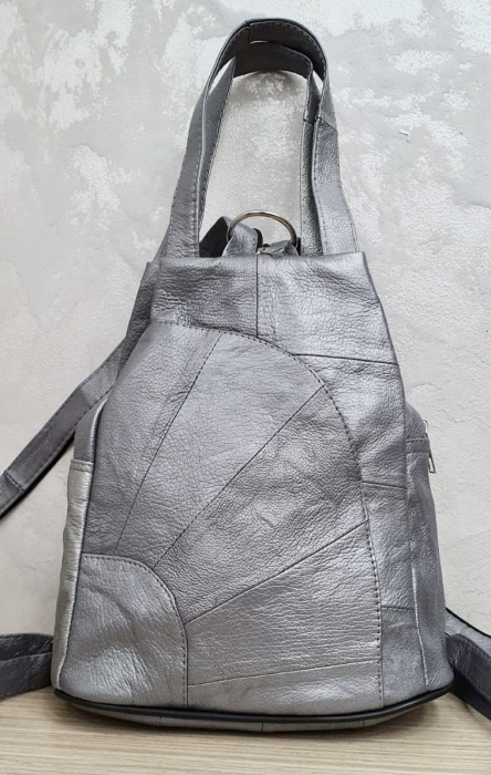 Rucsac Dama Piele Naturala Argintiu Clarisa G00358 2