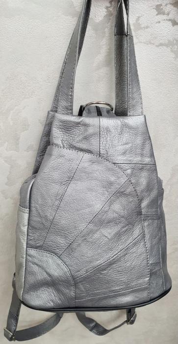 Rucsac Dama Piele Naturala Argintiu Clarisa G00358 6