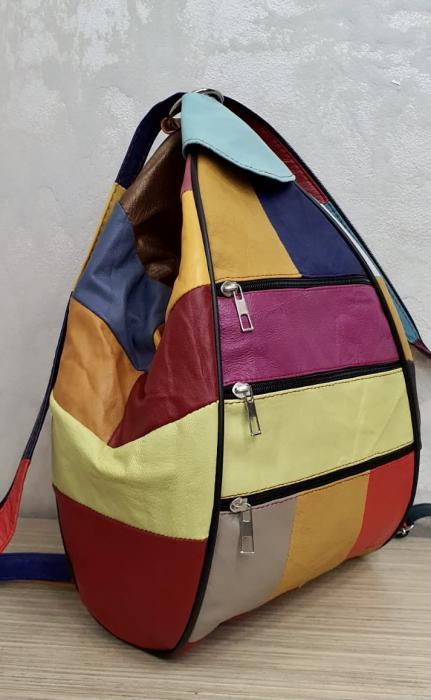 Rucsac Dama Piele Naturala Multicolor Seana G00369 4