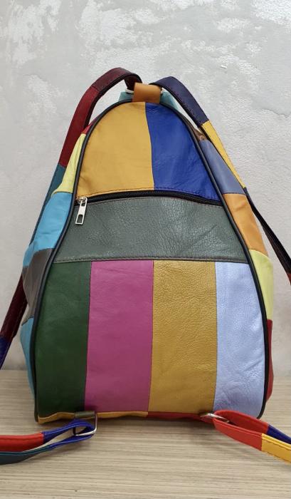 Rucsac Dama Piele Naturala Multicolor Seana G00369 5