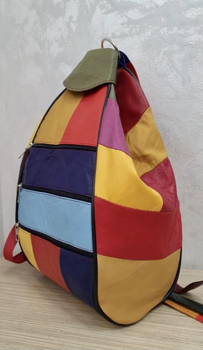 Rucsac Dama Piele Naturala Multicolor Seana G00370 2