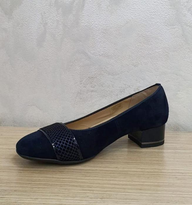 Pantofi cu toc Piele Naturala Bleumarin Ara Lizelle D02648 4