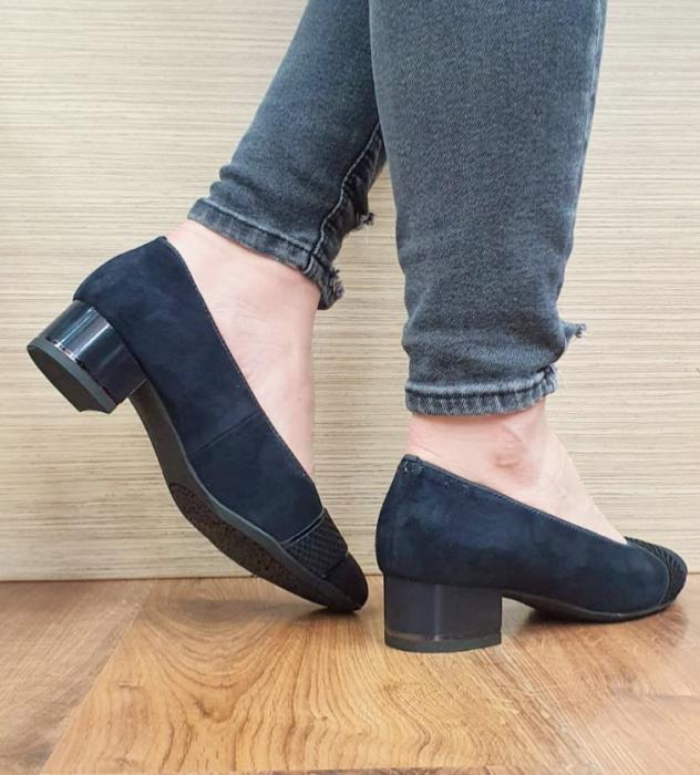 Pantofi cu toc Piele Naturala Bleumarin Ara Lizelle D02648 6