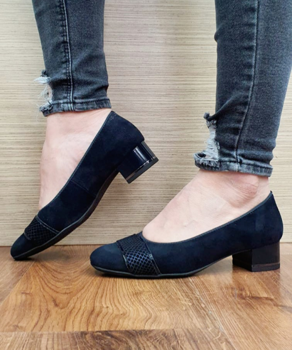 Pantofi cu toc Piele Naturala Bleumarin Ara Lizelle D02648 8