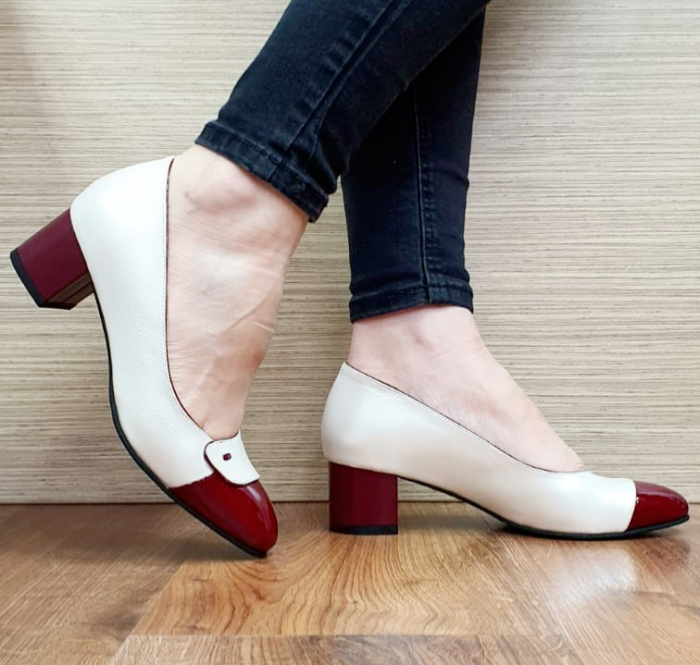Pantofi cu toc Piele Naturala Alb Moda Prosper Simina D02649 1