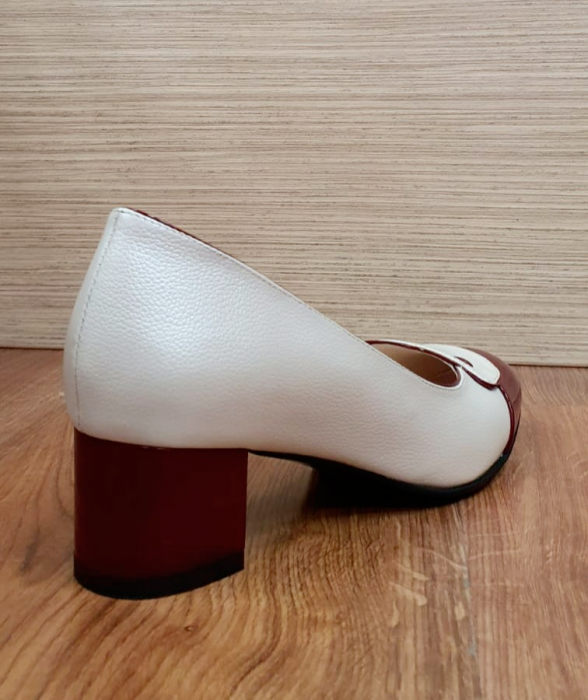 Pantofi cu toc Piele Naturala Alb Moda Prosper Simina D02649 6