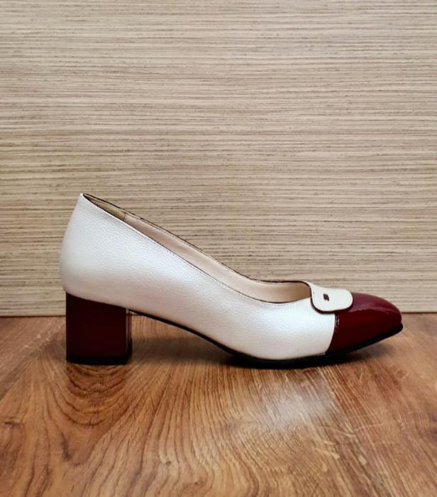 Pantofi cu toc Piele Naturala Alb Moda Prosper Simina D02649 5