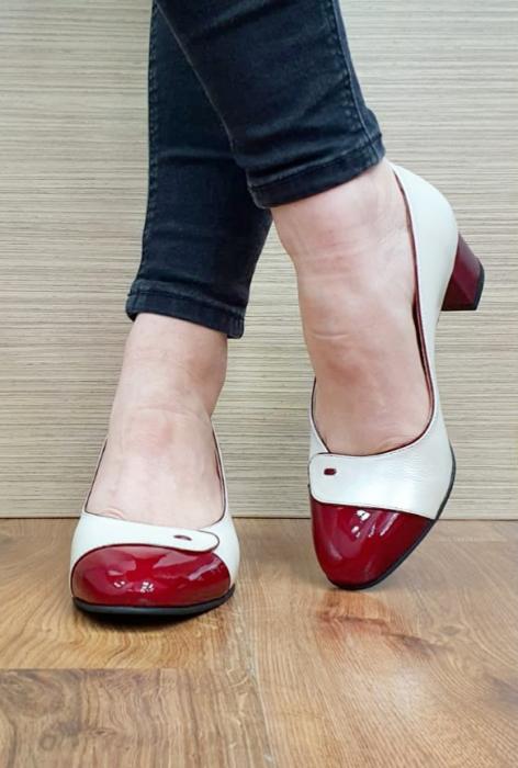 Pantofi cu toc Piele Naturala Alb Moda Prosper Simina D02649 2