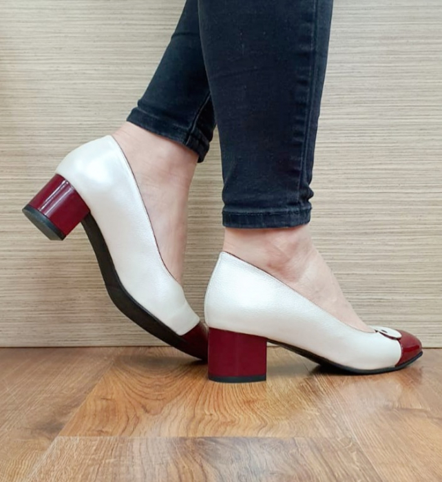 Pantofi cu toc Piele Naturala Alb Moda Prosper Simina D02649 4