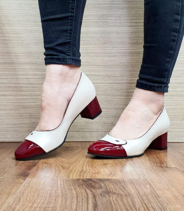 Pantofi cu toc Piele Naturala Alb Moda Prosper Simina D02649 3