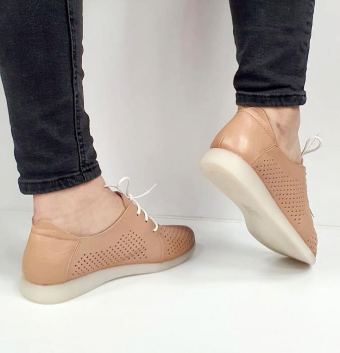 Pantofi Casual Piele Naturala Crem Zeal D02650 4