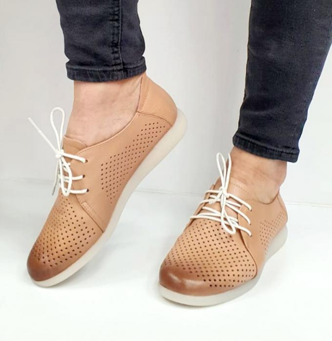 Pantofi Casual Piele Naturala Crem Zeal D02650 5