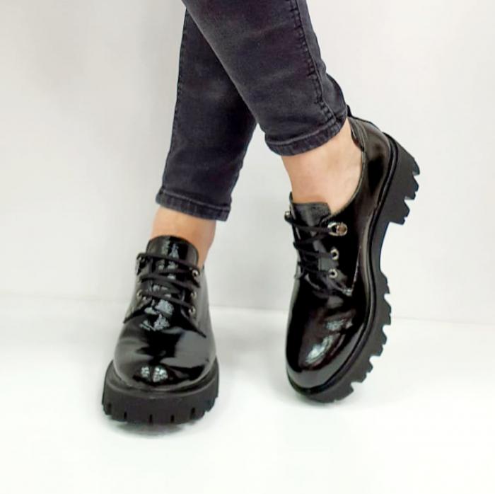 Pantofi Casual Piele Naturala Negri Amarna G02651 4