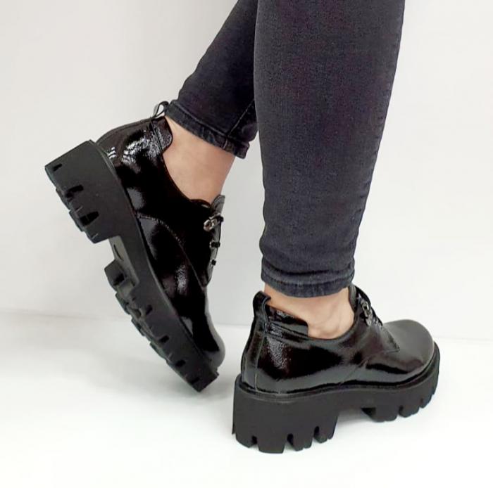 Pantofi Casual Piele Naturala Negri Amarna G02651 5