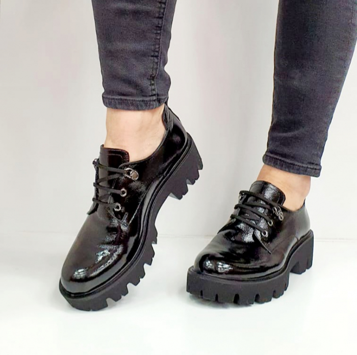 Pantofi Casual Piele Naturala Negri Amarna G02651 6