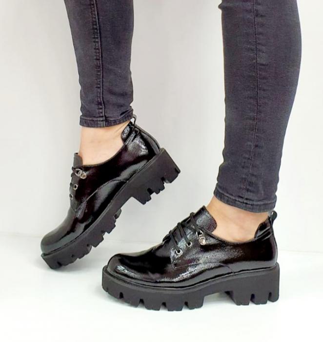 Pantofi Casual Piele Naturala Negri Amarna G02651 7