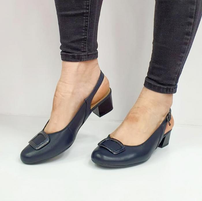 Pantofi Dama Piele Naturala Bleumarin Ara Karina D02656 2