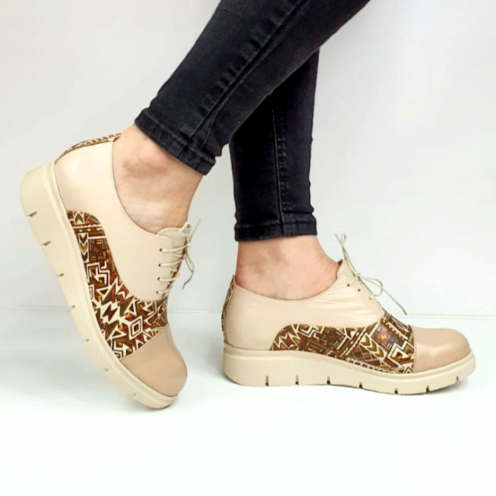 Pantofi Casual Piele Naturala Nude Brenda D02662 0