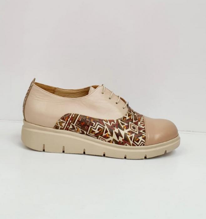 Pantofi Casual Piele Naturala Nude Brenda D02662 4
