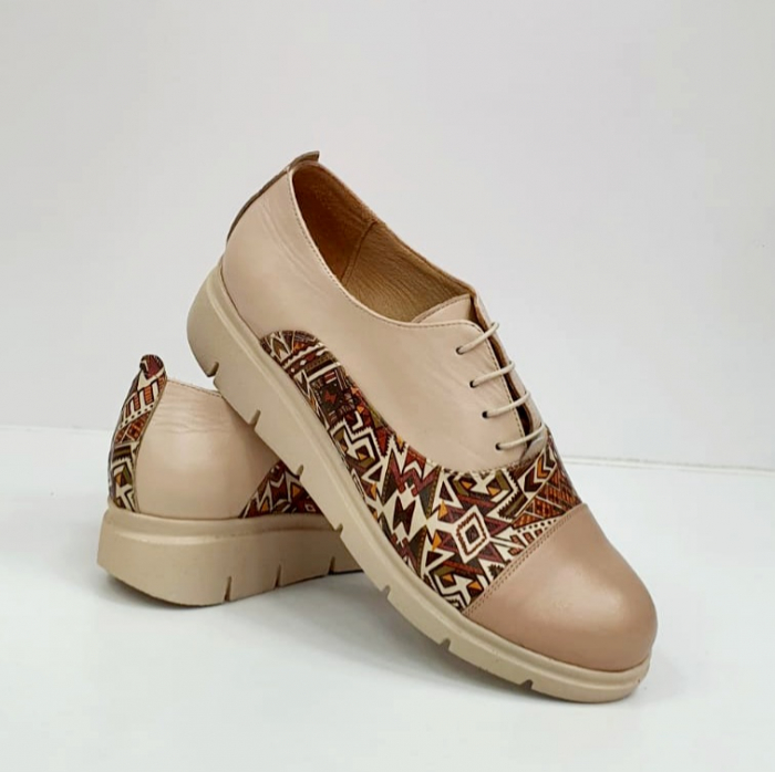 Pantofi Casual Piele Naturala Nude Brenda D02662 5