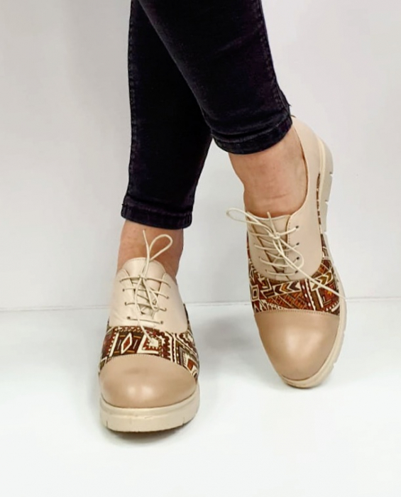 Pantofi Casual Piele Naturala Nude Brenda D02662 6